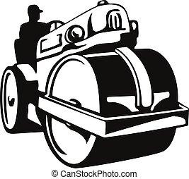 レトロ, 黒, スチームローラー, 前部, 道, ∥あるいは∥, 型, 白, 光景, 木版, roller-compactor, ローラー