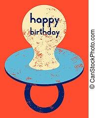 レトロ, birthday, card., 印刷である