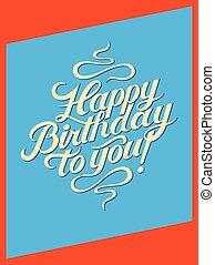 レトロ, calligraphic, birthday, card.