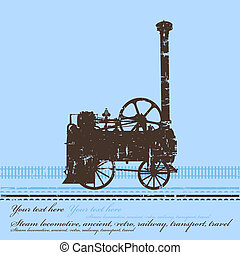 レトロ, frame., 蒸気, 機関車