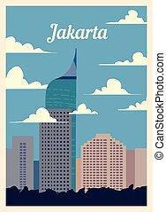 レトロ, illustration., ジャカルタ, skyline., ポスター, ベクトル, 都市, 型