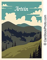 レトロ, illustration., ベクトル, ポスター, artvin, 都市, 型, スカイライン