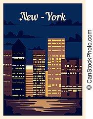 レトロ, illustration., ヨーク, skyline., ポスター, ベクトル, 都市, 新しい, 型