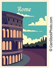 レトロ, illustration., ローマ, ベクトル, ポスター, 都市, 型, スカイライン