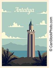 レトロ, illustration., antalya, skyline., ポスター, ベクトル, 都市, 型