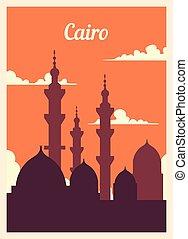 レトロ, illustration., skyline., カイロ, ポスター, ベクトル, 都市, 型