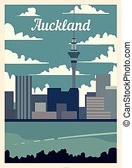 レトロ, illustration., skyline., ベクトル, ポスター, 都市, オークランド, 型