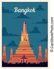 レトロ, illustration., skyline., ベクトル, ポスター, 都市, バンコク, 型