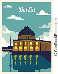 レトロ, illustration., skyline., ベルリン, ポスター, ベクトル, 都市, 型