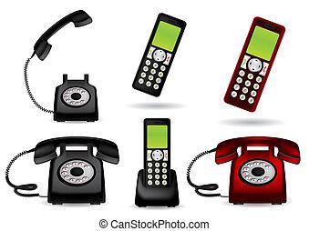レトロ, vect, -, 電話, コードレス