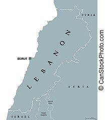 レバノン, 政治的である, 地図