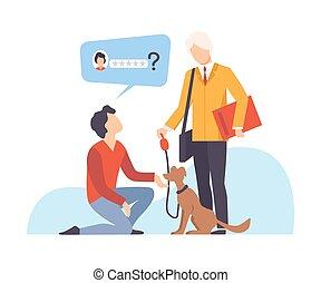 レビュー, 尋ねる, 取得, 休暇, 扱う人, 彼の, ベクトル, 犬, 男図解