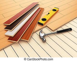 レベル, 堅材, concept., 卵を生む, floor., 寄せ木張りの床, ハンマー