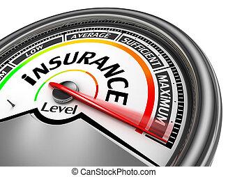 レベル, 最高, メートル, 示しなさい, 概念, 保険