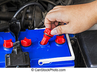 レベル, 電池, 自動車, 水, 蒸溜される, 点検