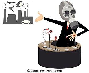 レポーター, 媒体, 提示, ガス, 工場, イラスト, 汚される, マスク, 固まり, 煙, 自動車, 概念, 旗