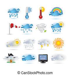 レポート, アイコン, 天候, セット