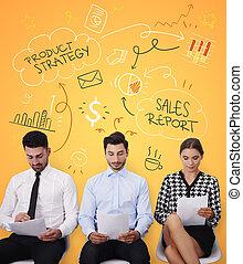 レポート, グループ, 販売, 仕事, 人々