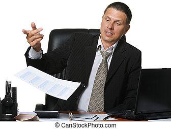 レポート, ビジネスマン, discontentedly, 財政, 投球