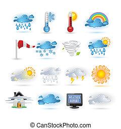 レポート, 天候, セット, アイコン
