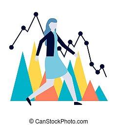 レポート, 女, 財政の図表, ビジネス