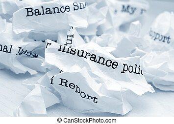 レポート, 屑, 保険