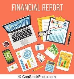 レポート, 平ら, 財政, イラスト
