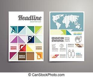 レポート, 年報, 雑誌, template., ポスター, size., a4, フライヤ, ベクトル, カバー, ...