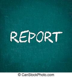 レポート, 書かれた, 黒板