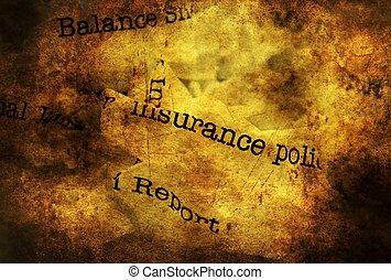 レポート, 概念, グランジ, 屑, 保険