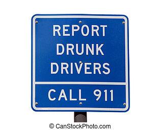 レポート, 運転手, 酔った, 印