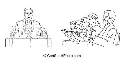レポート, microphones., 立つ, の後ろ, 隔離された, イラスト, バックグラウンド。, 演壇, ベクトル, スピーカー, public., 演説者, 白, 作り, 黒