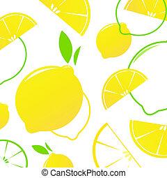 レモン切れ, フルーツ, 新たに, -, 隔離された, white., ベクトル, バックグラウンド。, 定型