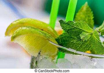 レモン飲み物, 氷, ガラス, ミント, lemnon