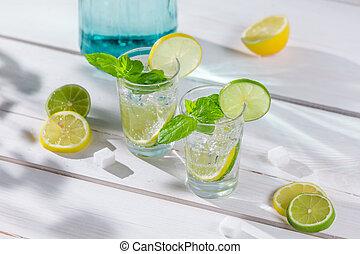 レモン飲み物, 氷, クローズアップ, 葉, ミント