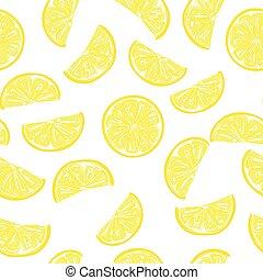 レモン, パターン, seamless, 薄く切られる