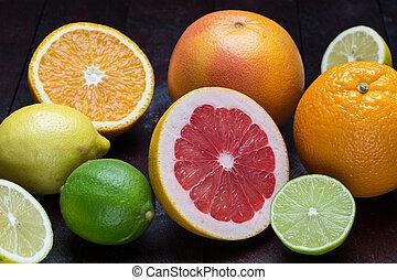 レモン, 柑橘類, グレープフルーツ, 変化, オレンジ, マンダリン, ライム