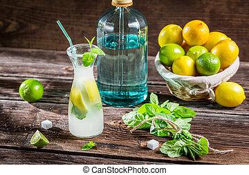レモン, 柑橘類, 飲みなさい, 成果, 葉, ミント