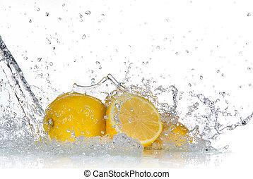 レモン, 水, はね返し, 隔離された, 白