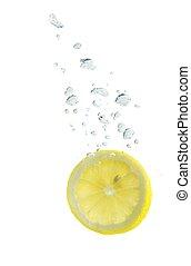 レモン, 水, 泡, 空気