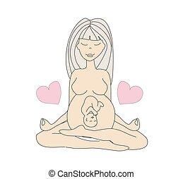 レンゲ座, 女, ヨガ, 妊娠した