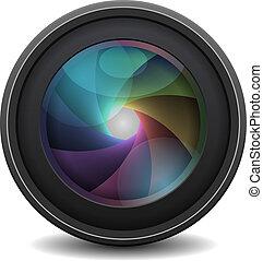 レンズ, 写真, 白, 隔離された, 背景