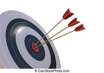 レンダリングした, ターゲット, 隔離された, イラスト, arrows., ほんの少し, 3d