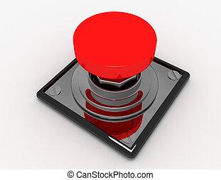 レンダリングした, ボタン, .3d, 隔離された, イラスト, 赤, 3d