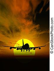 @, レンダリングした, 日没, 現場, 飛行機