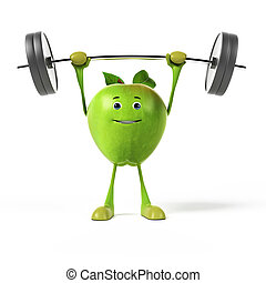 レンダリングした, 緑のリンゴ, イラスト, 3d