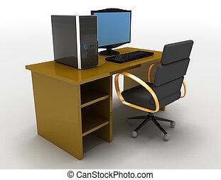 レンダリングした, illustratiobn, イラスト, コンピュータ, テーブル, 3d
