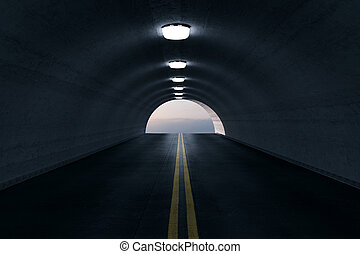 レンダリング, トンネル, ライト, 空, ハイウェー, 3d