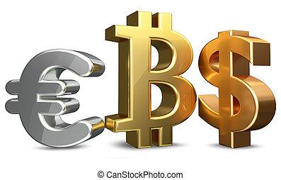レンダリング, ユーロ, bitcoin, us-dollar, 3d