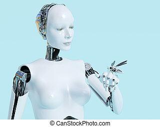 レンダリング, ロボット, ロボティック, 女性, 3d, mosquito.